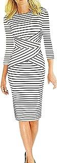 Fashion Clothes, Women Three Quarter Sleeve Striped Work Wear Business Cocktail Pencil Dress