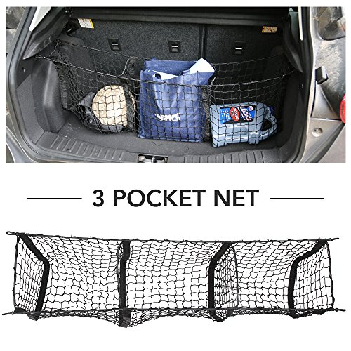 9 MOON Cargo Net- Universal Heavy Duty Stretchable Truck Net with 3 Pockets and Hooks - Nylon Mesh Storage Organizer Bungee for Car, SUV, Pickup Truck, with mounting Hardware