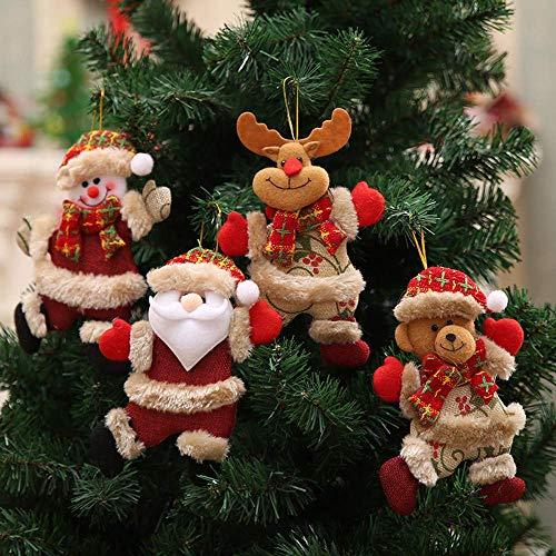 Christmas Decorations Sale, 4Pcs Ornamenti natalizi Regalo Babbo Natale Pupazzo di neve Albero Giocattolo Bambola Decorazioni da appendere Buon Natale Decorativo Decorazioni natalizie Ornamenti