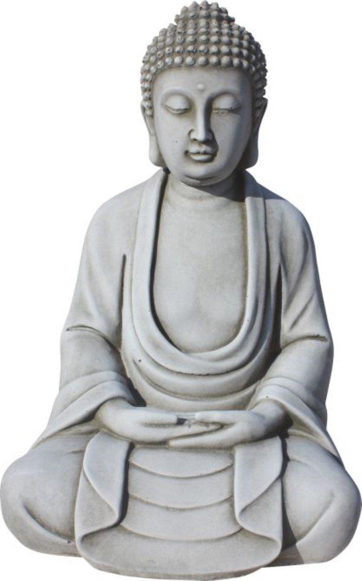 AnaParra Figura Buda Tranquilidad para el jardín Decorativa 32cm. hormigón Natural Musgo: Amazon.es: Jardín