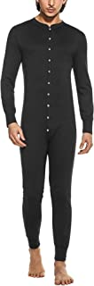 Hotouch Men's Long Thermal Union Suit Button Down Pajamas S-XXL