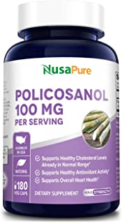 Policosanol 100mg 180 Veggie Capsules (Non-GMO & Gluten Free) Supports Lower Cholesterol, Supports Healthy Circulation - 5...