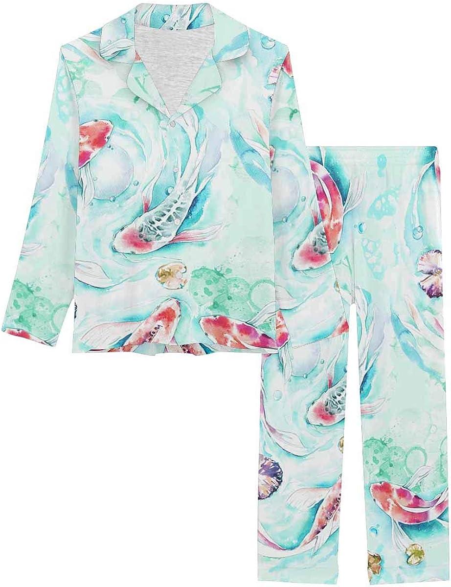 InterestPrint Long Sleeve Button Down Nightwear with Long Pants Golden Koi Fish Watercolor Pattern