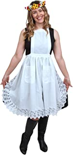 Essence of Europe Gifts E.H.G Deluxe Vintage Lace Full Apron for Women | Victorian Maid Costume | Kitchen Party | Two Pockets | White