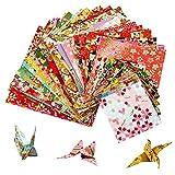 MOOKLIN ROAM Papel para papiroflexia 60 hojas Papel de Origami Diferentes patrones Papel japonés Cuadrado Papel PlegableSolo lado Para Proyectos de Artes Bricolaje y Oficios,3 tamaños,Color Aleatorio