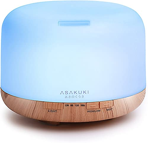 ASAKUKI 500ml Essential Oil Diffuser, 5 in 1 Ultrasonic Aromatherapy Fragrant Oil Vaporizer Humidifier, Timer and Aut...
