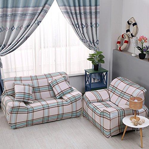 JiaQi Four Seasons Funda de sofá,Cubierta Universal del sofá,Elástico Antideslizante Protector de los Muebles para 1 2 3 4 Cojines sofá Guardapolvo-E Silla