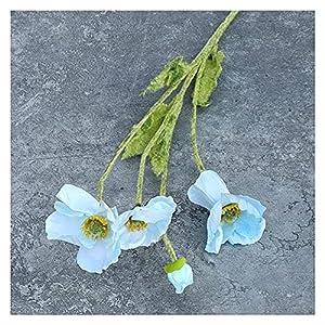 WYYYY Gorgeous Poppy Flower, Small Poppy Flower, Silk Flower, Idyllic Wedding Simulation Flower, Wedding Home Decoration Flower for Artificial Ceiling Image Lifelike Fake Flower (Blue) Splendid