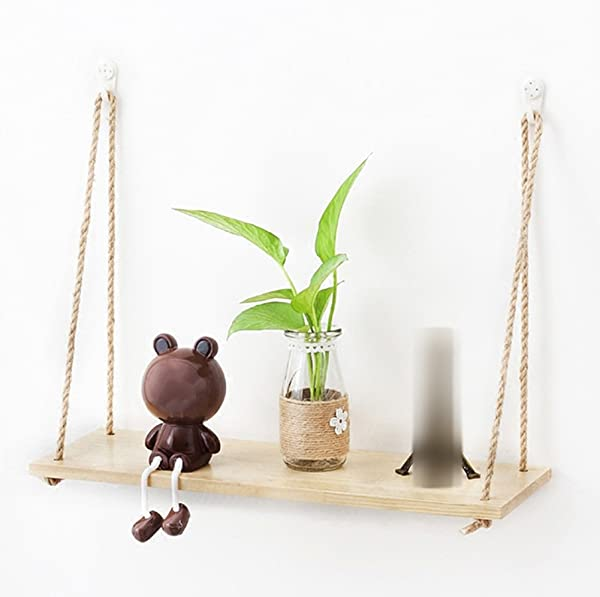 CHAOXIAN Wall Shelf Floating Storage Decorative Display Stand Bookshelf Multifunction Hemp Rope Pine Wood Simple Modern Length X Width 45x15cm