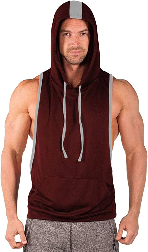 WUAI Mens Sleeveless Undershirts Sports Vest Striped Splice Workout Muscle Training Gym Tank Tops