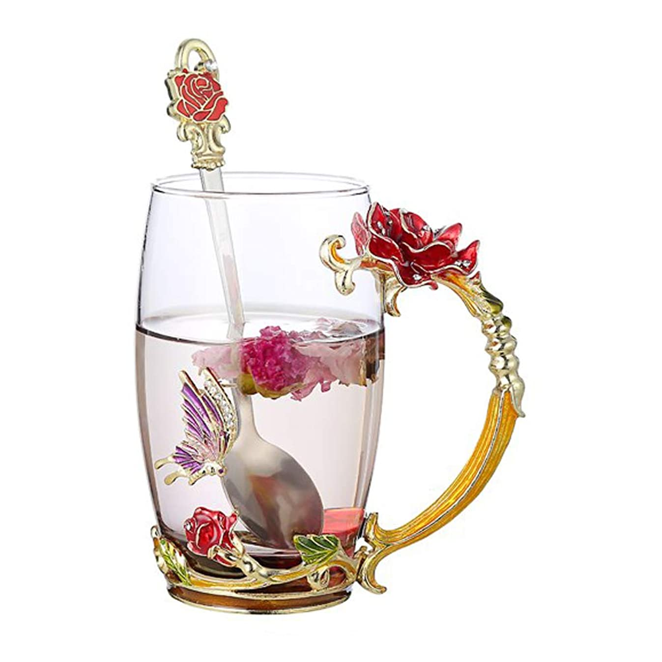 Tebery Tea Cup Coffee Mug Cups with Spoon Handmade Butterfly Rose Glass Coffee Cups Tea Mugs for Friend Wedding Anniversary Birthday Mother's Day Presents, 13oz
