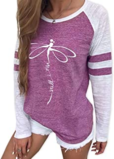 JOYFEEL Womens Casual Graphic Print Color Block T-Shirt Patchwork Crew Neck Long Sleeve Blouse Tops