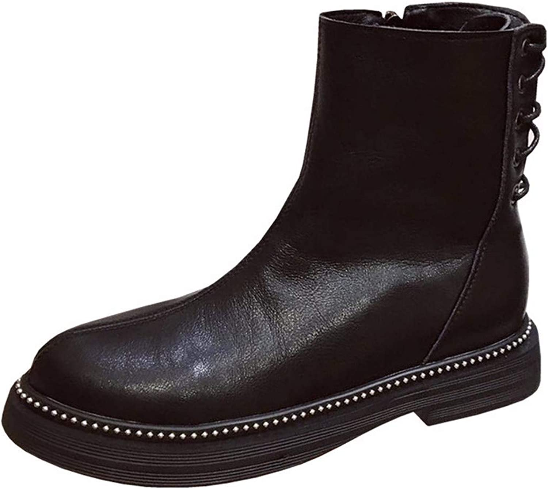 LBTSQ Fashion Damenschuhe Mode 100 Stze Heel 3Cm Martin Stiefel Runden Kopf Rücken - Flachem Absatz Samt Stiefeln