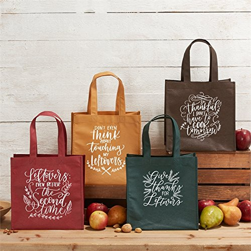 Twos Company Thankful for Leftovers Set of 4 Tote Bags