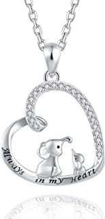 Mother Daughter Jewelry - 925 Sterling Silver Lucky Elephant Love Heart Pendant Necklace Bracelet Ring Earrings for Women Girls