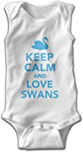 Keep Calm Love Swans Sleeveless Jumper for Babies and Toddlers Bodysuit 100% Cotton Black