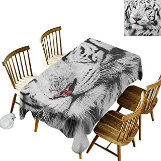 kangkaishi Oil-Resistant and Durable Long Tablecloth Kitchen Available White Tiger Wintertime Rare Animal Portrait Eyes Calm Noble Beast Photography W60 x L84 Inch Grey Black White