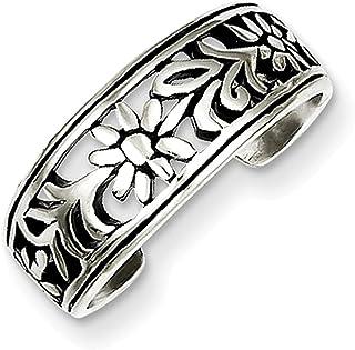 Lex & Lu Sterling Silver Antiqued Flower Toe Ring