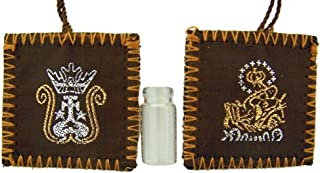 Religious Gifts Embroidered Crown on Brown Wool Scapular Medal with Holy Water Bottle, 1 1/2 Inch
