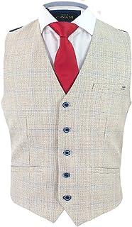 Cavani Men's Caridi Check Tweed Slim Fit Waistcoat Beige