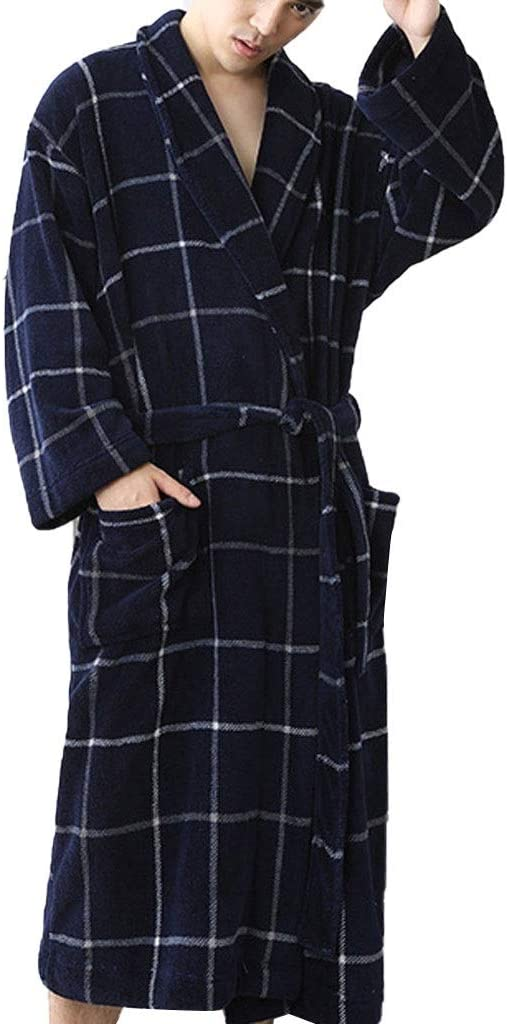 ZSQAW Fashion Plaid Bath Robe Men Winter Bathrobe Mens Kimono Sleepwear Home Nightgown Pajamas Robe (Color : B, Size : XX-Large)