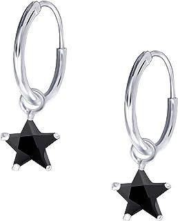 JAYARE Creoles Enfants étoiles argent sterling 925 Oxyde de Zirconium Boucle d'oreilles fille