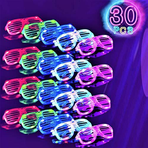 30 Pack LED glasses,6 Colors Light Up Glasses Shutter Shades glow in the dark glasses Led Sunglasses...