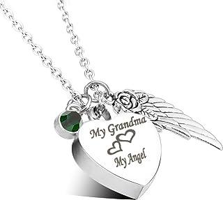 Cremation Urn Jewelry My Grandma My Angel Angel Wings Birthstone Memorial Ash Keepsake Necklace