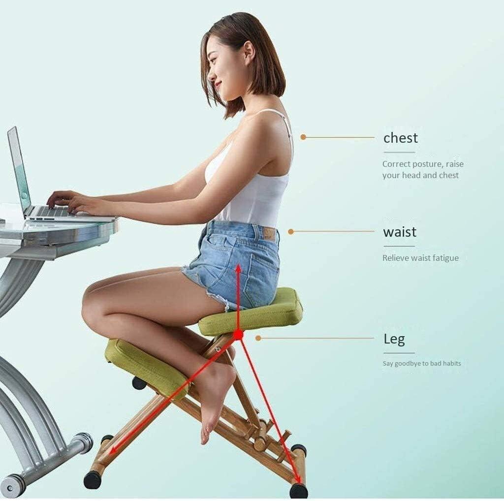 HUXIUPING Chaise Genoux Chaise de Bureau Ergonomie correcte Position Assise Typing Chaise Bureau Président Fatigue Couture Président Soulager (Color : Green) Gray