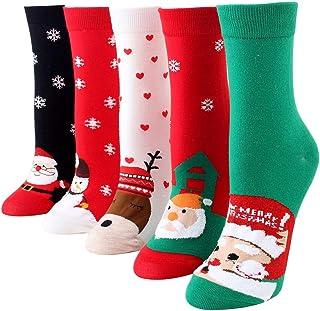 Lazder, Lazder 4 pares de calcetines unisex de algodón de media pantorrilla de la tripulación de dibujos animados de Papá Noel