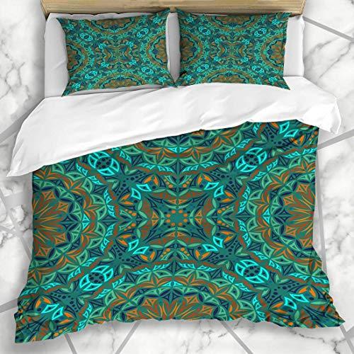 Juegos de fundas nórdicas Patrón azul antiguo Caleidoscopio Resumen Arabesco marroquí Borde de la alfombra Persa Marruecos Ropa de cama de microfibra oriental con 2 fundas de almohada Cuidado fácil An