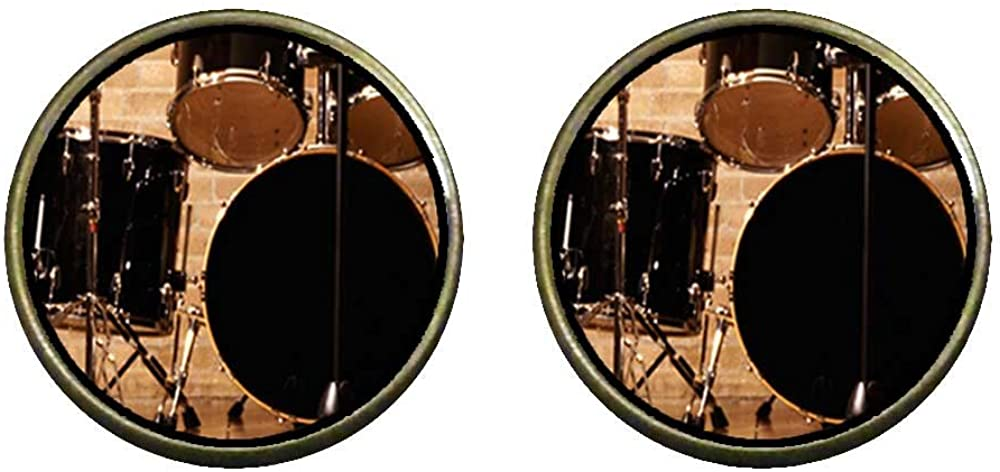 GiftJewelryShop Bronze Retro Style Rock And Roll Drums Photo Clip On Earrings 16mm Diameter