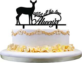 zhongfei Monogram Cake Topper- After All This Time Always Cake Topper, Wedding Cake Topper with Deer Silhouette, Perfect for Wedding Party Collection