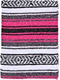 El Paso Designs - Mexican Yoga Blanket - Colorful Falsa Serape - Camping, Picnic, Beach Blanket, Bedding, Car Blanket, Saddle Blanket, Soft Woven Home Decor (Pink)