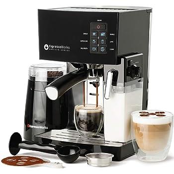 Espresso Machine, Latte & Cappuccino Maker- 10 pc All-In-One Espresso Maker with Milk Steamer (Incl: Coffee Bean Grinder, 2 Cappuccino & 2 Espresso Cups, Spoon/Tamper, Portafilter w/ Single & Double Shot Filter Baskets) (Black)