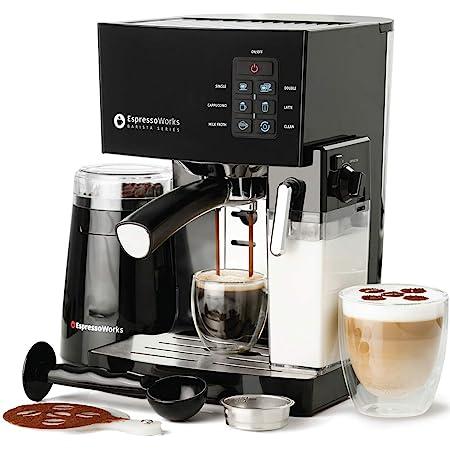 Espresso Machine, Latte & Cappuccino Maker- 10 pc All-In-One Espresso Maker with Milk Steamer (Incl: Coffee Bean Grinder, 2 Cappuccino & 2 Espresso Cups, Spoon/Tamper, Portafilter w/ Single & Double Shot Filter Baskets), 1250W, (Black)