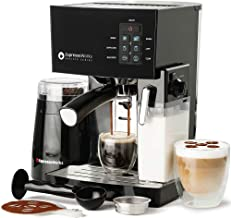 Espresso Machine, Latte & Cappuccino Maker- 10 pc All-In-One Espresso Maker with Milk Steamer (Incl: Coffee Bean Grinder, ...
