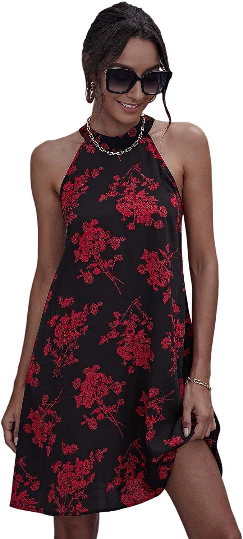 Floerns Women's Summer Floral Print Sleeveless Halter Neck Beach Party Dress