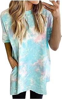 Riou レディースロングシャツ半袖夏大きいサイズラウンドネックポケット絞り染めTシャツロングシャツトップス