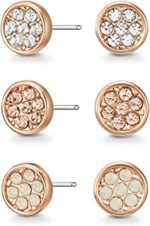 Mestige Women Glass Rose Gold Elsie Earring Set with Swarovski Crystals