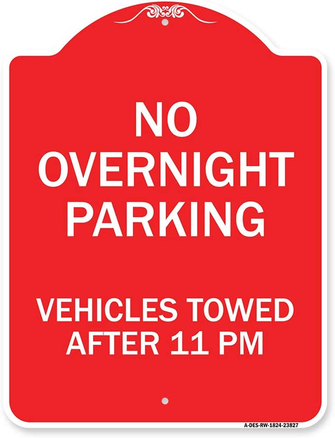 SignMission 55% OFF Designer Series Sign - Parking No Overnight Vehicle In stock