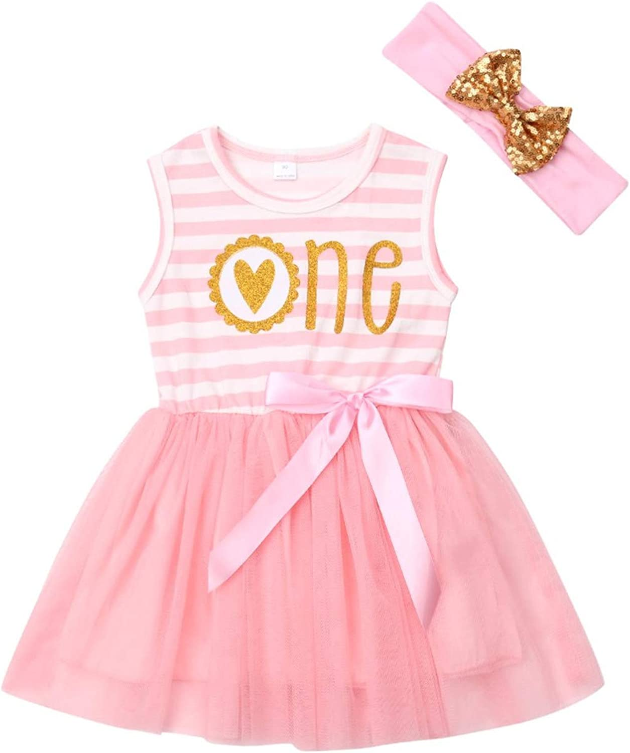 Birthday dress tunic girls pink white striped with number