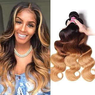 Sunber Ombre Brazilian Virgin Body Wave Hair 3 Bundles Ombre Body Wave Human hair 3 Bundles Brazilian Remy Hair Body Wave Weave 100% Human Hair Extensions 3 Tone (T1B/4/27,18 20 22)