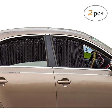 Winomo 2stk Seitenfenster Auto Sonnenschutz Vorhänge Uv Sonnenschirm Drapieren Fenster Schild Schwarz Auto