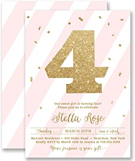 Girl 4th Birthday Invitations Blush Pink Striped Gold Glitter Look Any Age Personalized Boutique Invites with Envelopes- Stella style