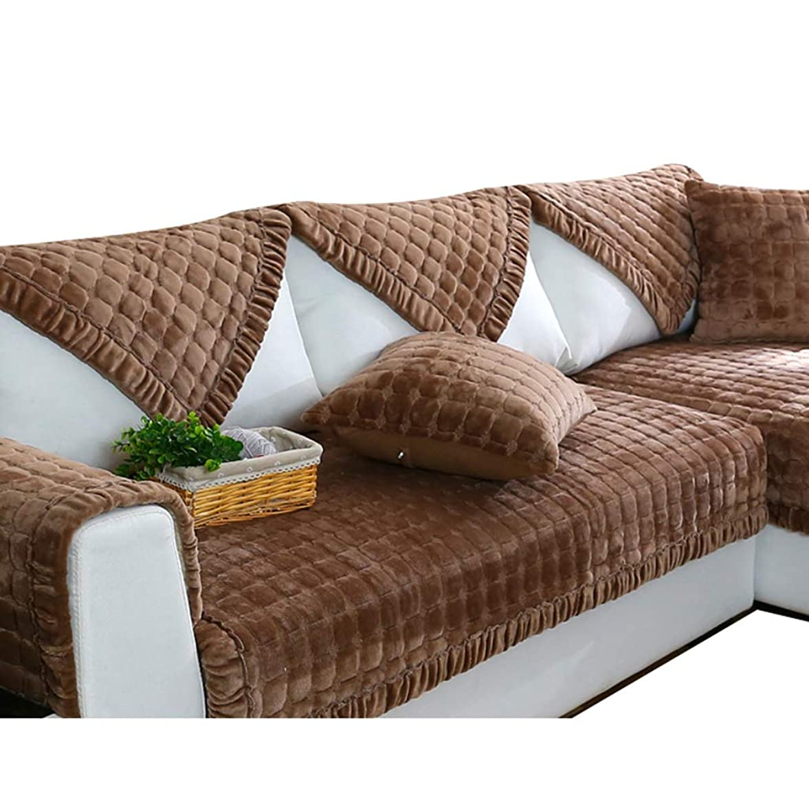 マティス免疫お客様JLWM 1個 ソファーのカバー ソファーカバー ソファーベッドカバー 冬 ベルベット 市松 ではありません-スリップ-ブラウン-90*160cm