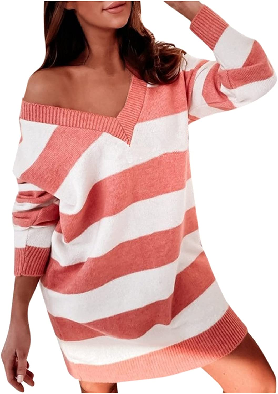 A2A Off Shoulder Sweater for Women V Neck Long Sleeve Hand Knit Striped Sweater Tops Loose Pullover Sweaters Sexy Blouse