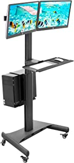 Mount-It! Adjustable Mobile PC Workstation for Dual Monitors   Mobile Standing Computer Workstation with Adjustable Keyboard Tray and CPU Holder   Rolling Computer Desk Fits Monitors 13 to 32 Inches