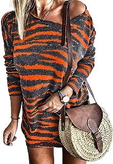 neveraway Women Top Stripes Crewneck Long Sleeve Mini Casual Dresses