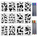 CCMART Set von 12 Tierschablonen mit 10 farbigen Fineliner-Stiften aus Kunststoff,...